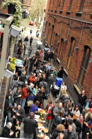 Nord Alley party from above, Mira Poling, International Sustainability Instiutte