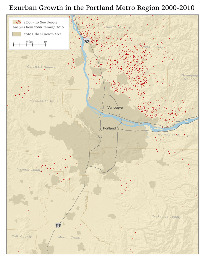 Map of Exurban Portland Growth 2000-2010