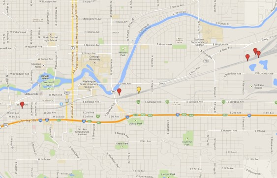Spokane Derailments 2011-13. Map data ©2014 Google.