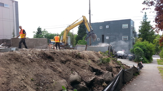 Demolition on June 16, 2014, of a Central District home built in 1900. The site is 200 feet from a playground.