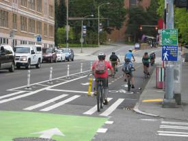 NE 40th Street protected bike lane, by SDOT